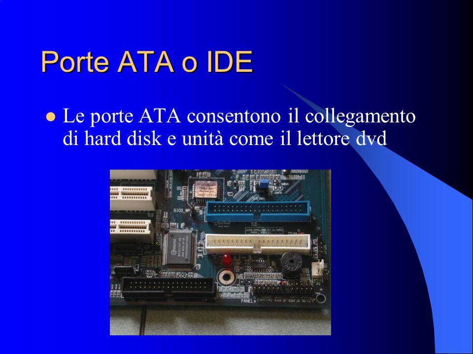 Porte ATA o IDE Le porte ATA consentono il collegamento di hard disk e unità come il lettore dvd