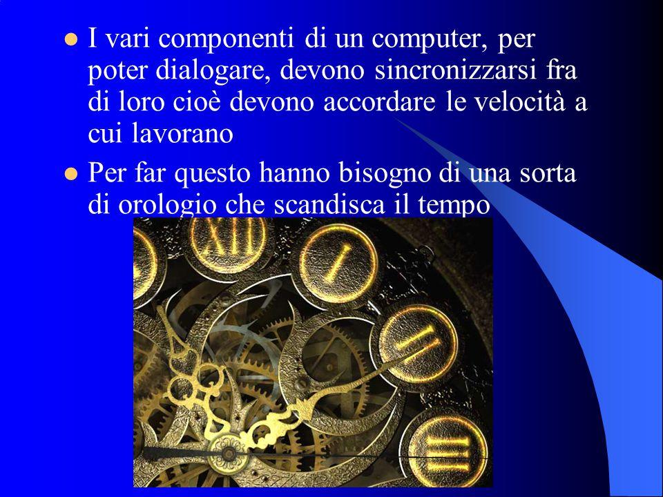 I vari componenti di un computer, per poter dialogare, devono sincronizzarsi fra di loro cioè devono accordare le velocità a cui lavorano