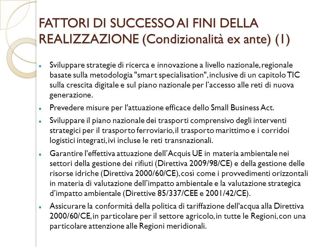 FATTORI DI SUCCESSO AI FINI DELLA REALIZZAZIONE (Condizionalità ex ante) (1)