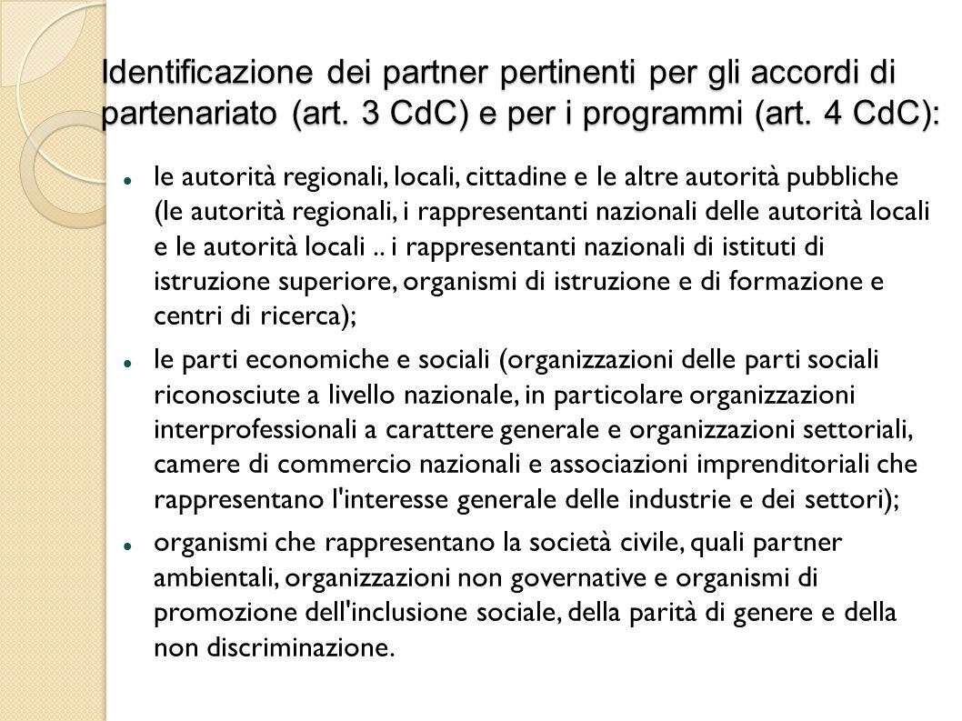 Identificazione dei partner pertinenti per gli accordi di partenariato (art. 3 CdC) e per i programmi (art. 4 CdC):
