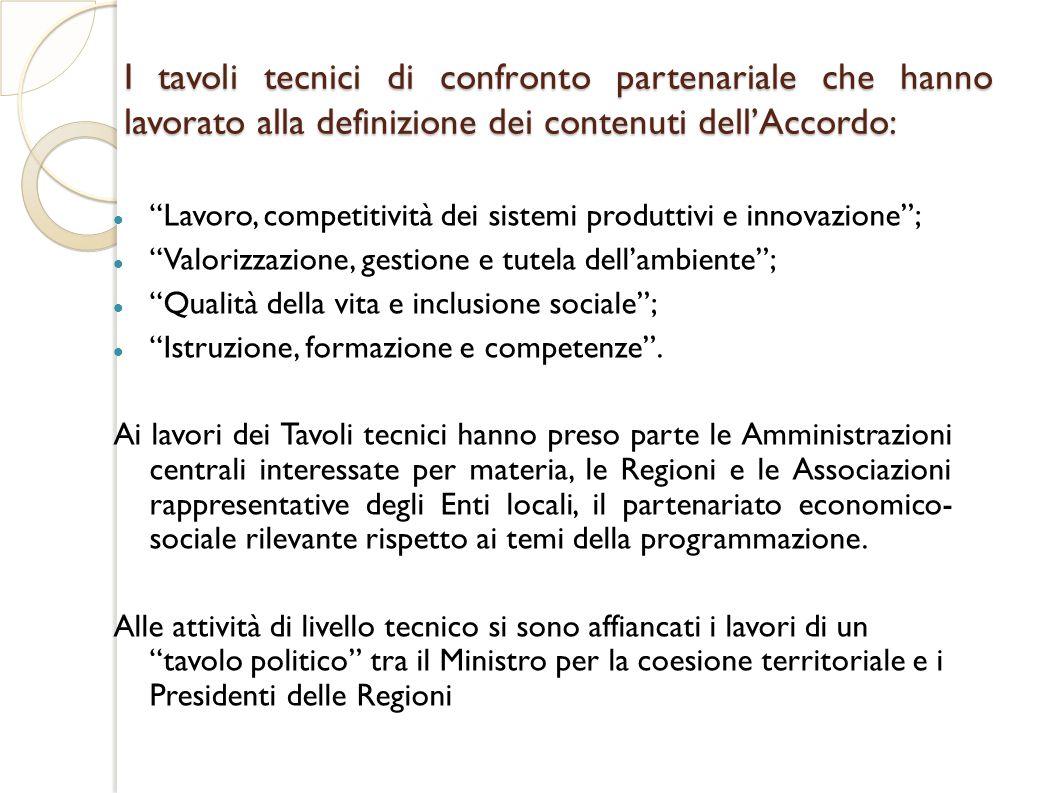 I tavoli tecnici di confronto partenariale che hanno lavorato alla definizione dei contenuti dell'Accordo: