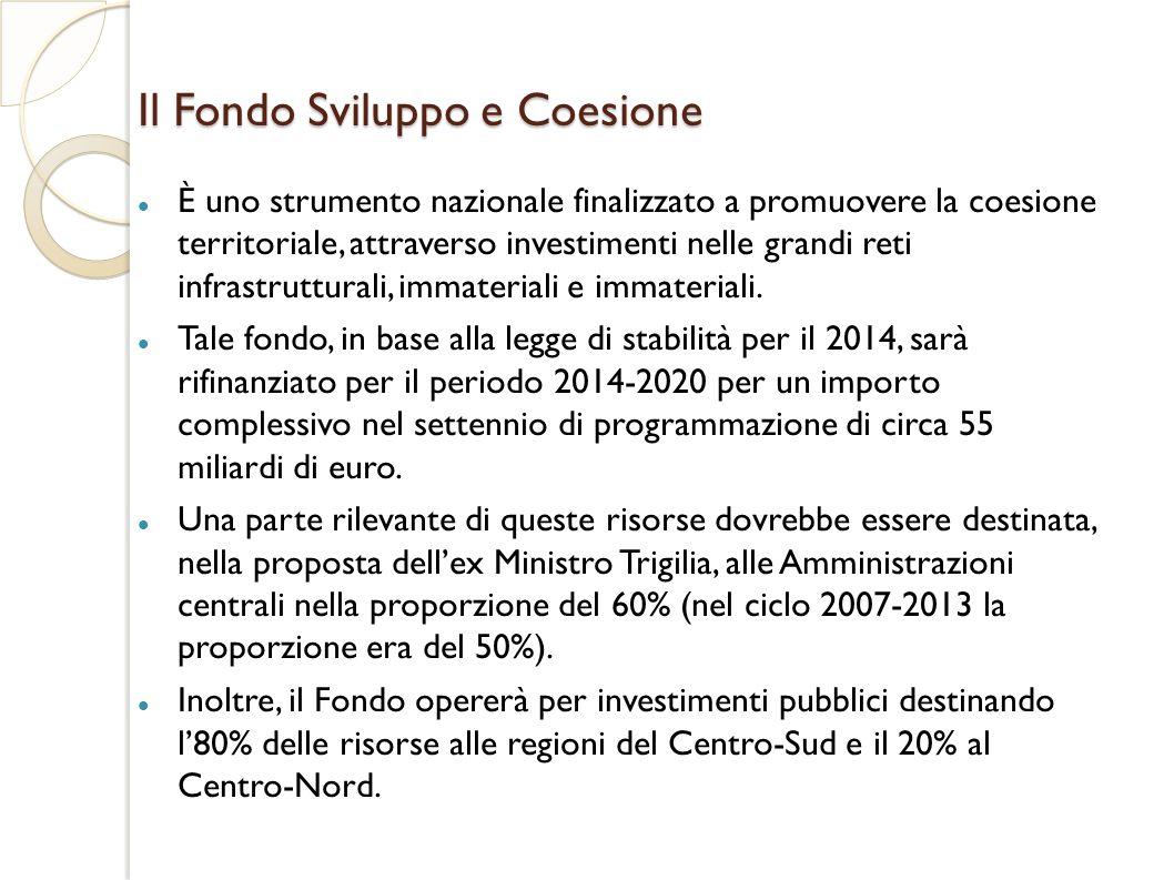Il Fondo Sviluppo e Coesione