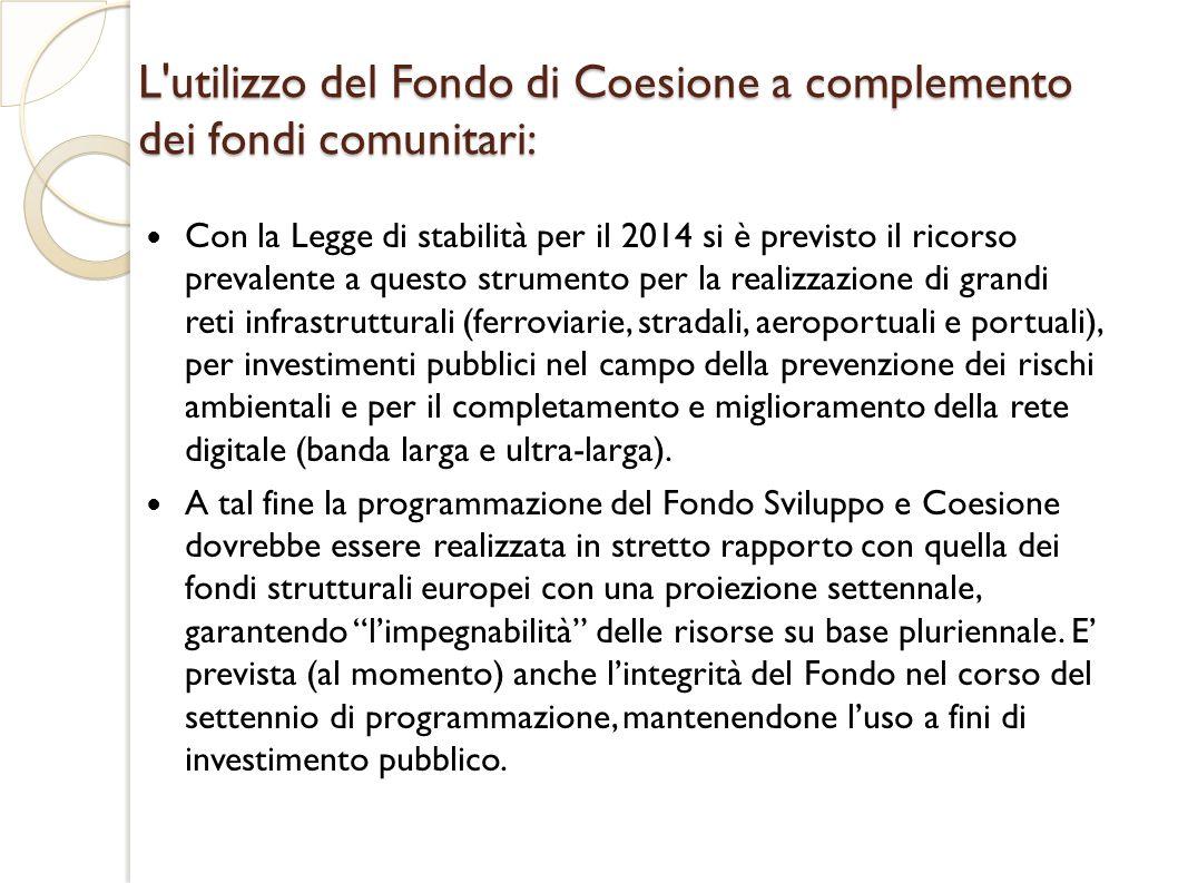 L utilizzo del Fondo di Coesione a complemento dei fondi comunitari: