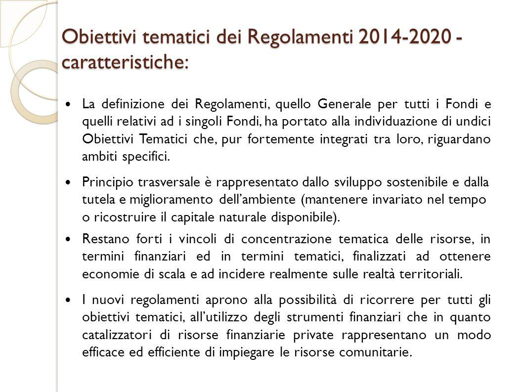 Obiettivi tematici dei Regolamenti 2014-2020 - caratteristiche: