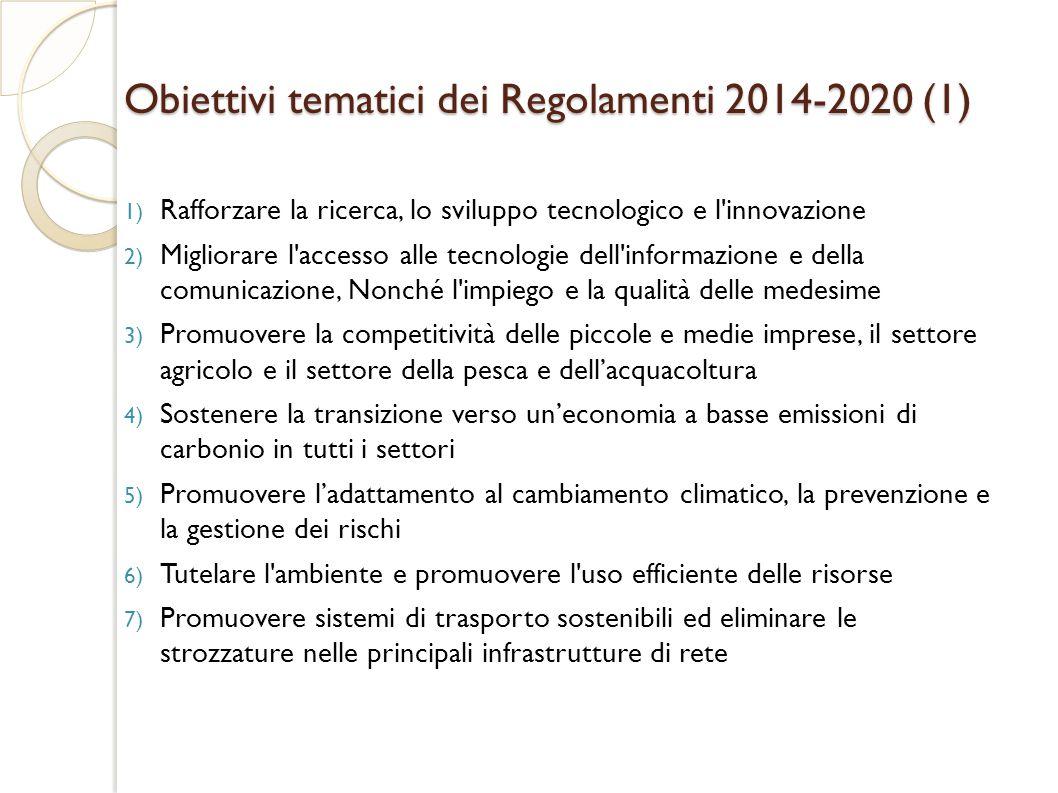 Obiettivi tematici dei Regolamenti 2014-2020 (1)