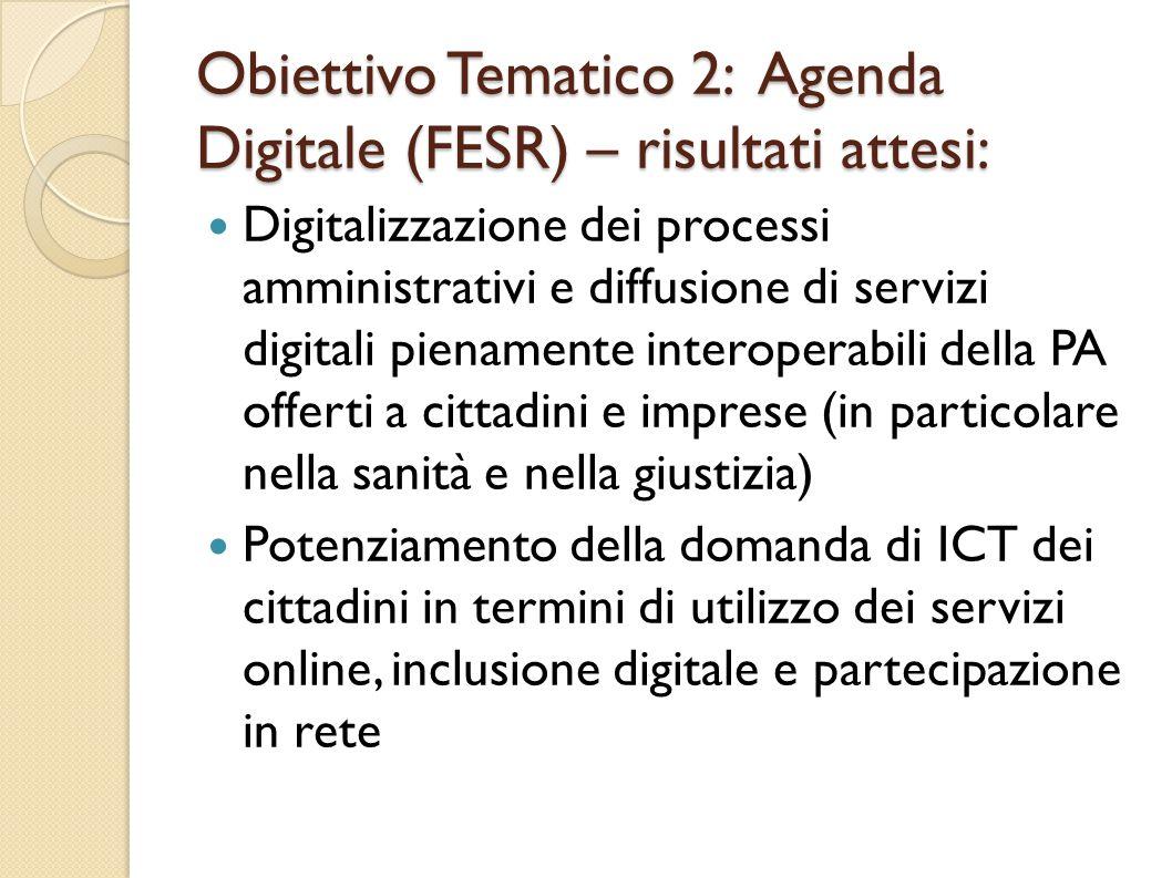 Obiettivo Tematico 2: Agenda Digitale (FESR) – risultati attesi: