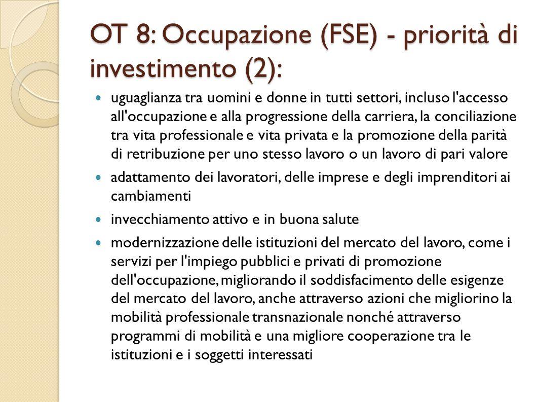OT 8: Occupazione (FSE) - priorità di investimento (2):