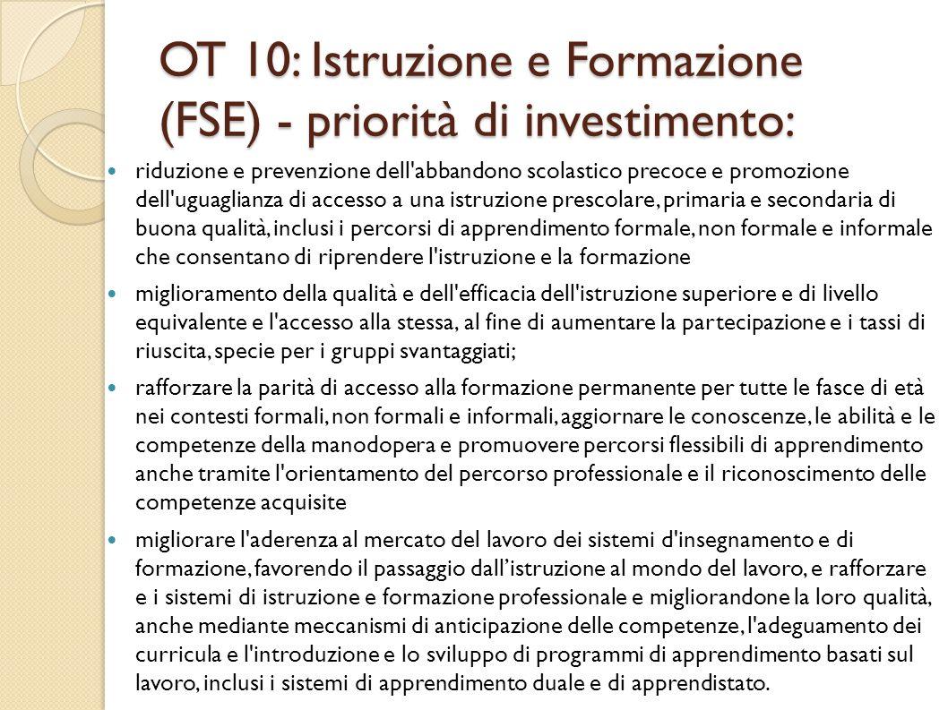 OT 10: Istruzione e Formazione (FSE) - priorità di investimento: