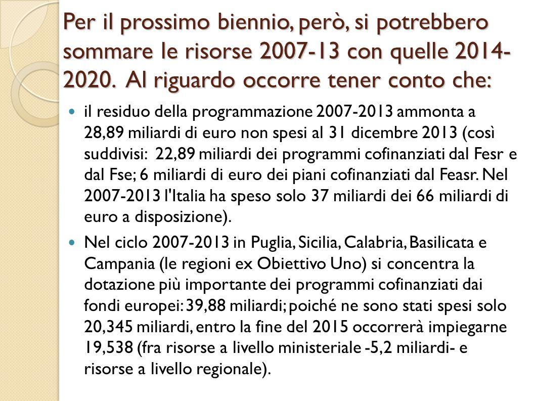 Per il prossimo biennio, però, si potrebbero sommare le risorse 2007-13 con quelle 2014-2020. Al riguardo occorre tener conto che: