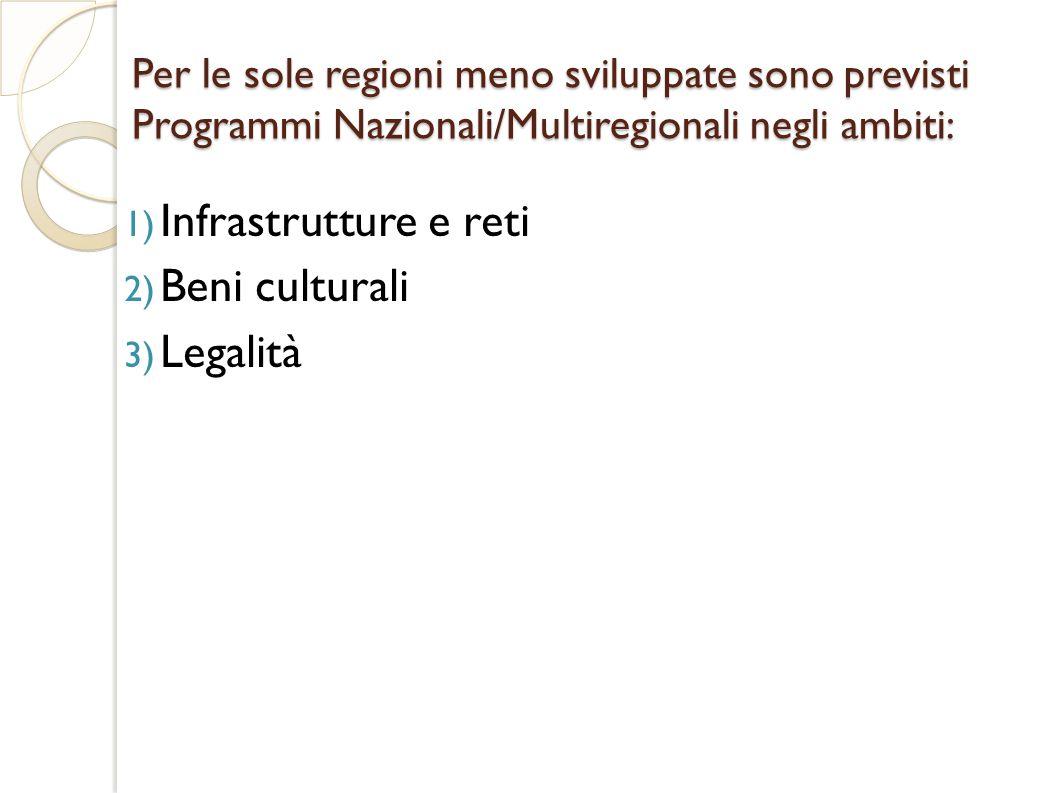 Infrastrutture e reti Beni culturali Legalità