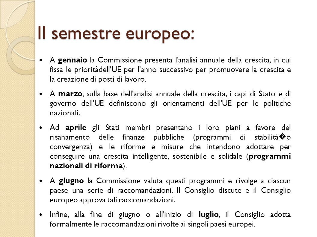 Il semestre europeo: