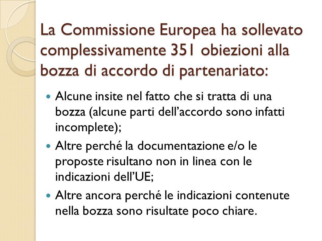 La Commissione Europea ha sollevato complessivamente 351 obiezioni alla bozza di accordo di partenariato: