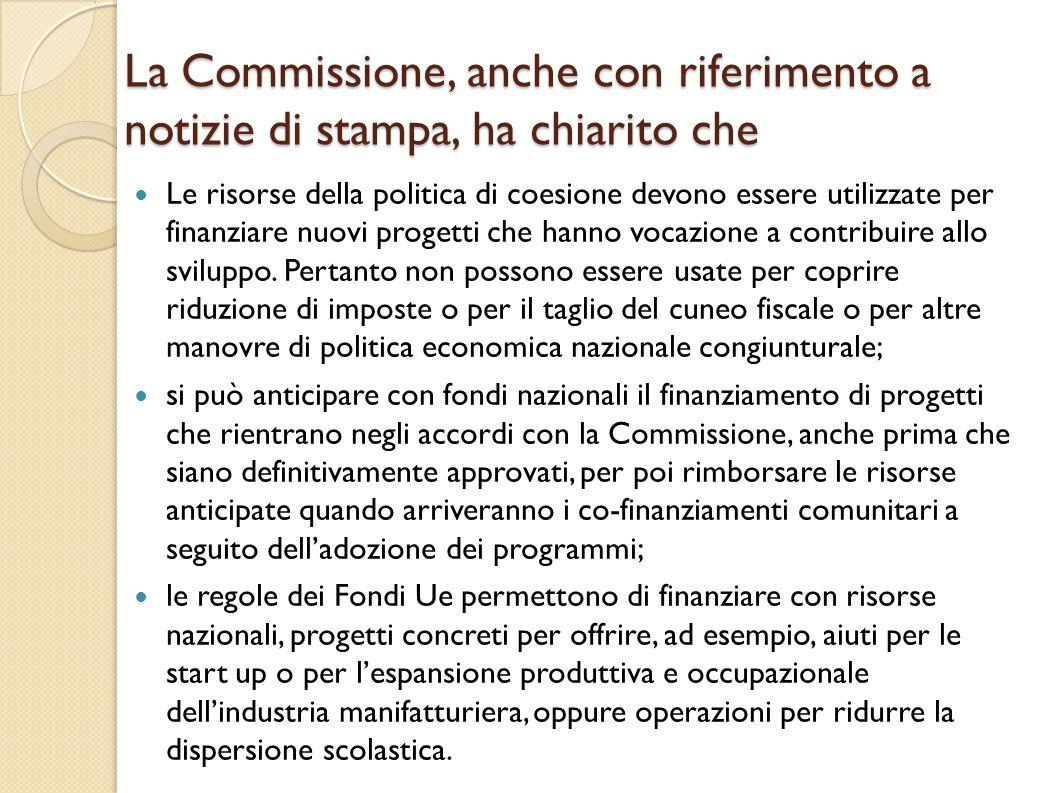 La Commissione, anche con riferimento a notizie di stampa, ha chiarito che
