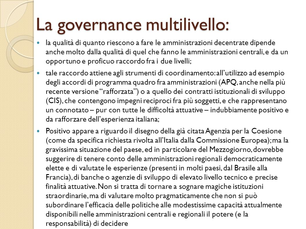 La governance multilivello: