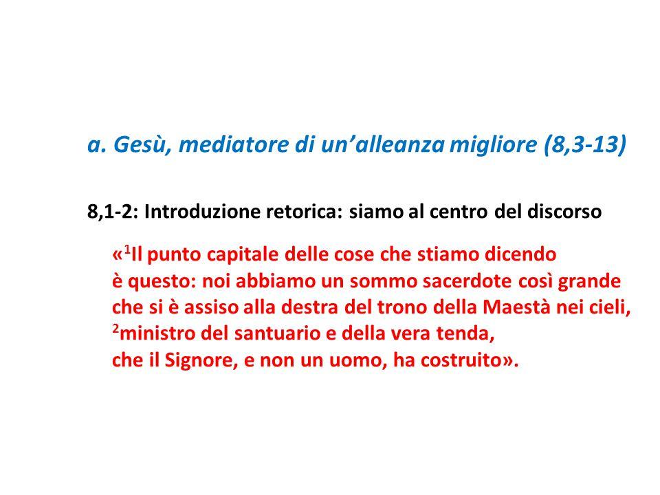 a. Gesù, mediatore di un'alleanza migliore (8,3-13)
