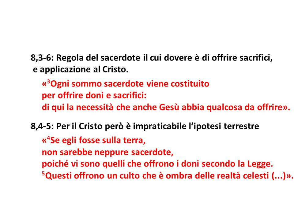 8,3-6: Regola del sacerdote il cui dovere è di offrire sacrifici,