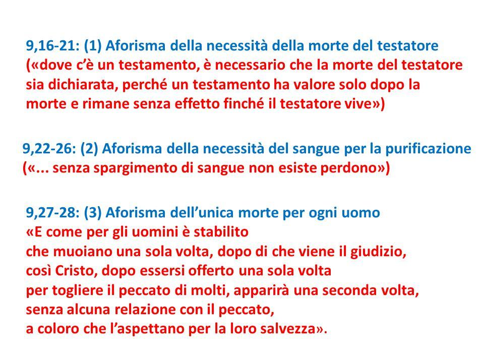 9,16-21: (1) Aforisma della necessità della morte del testatore