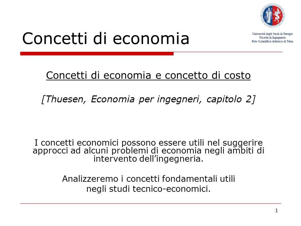 Concetti di economia Concetti di economia e concetto di costo
