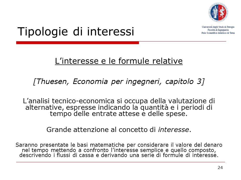 Tipologie di interessi