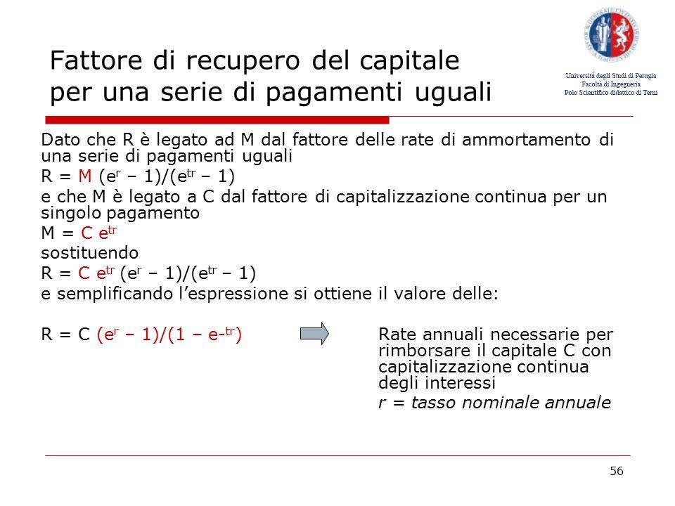 Fattore di recupero del capitale per una serie di pagamenti uguali