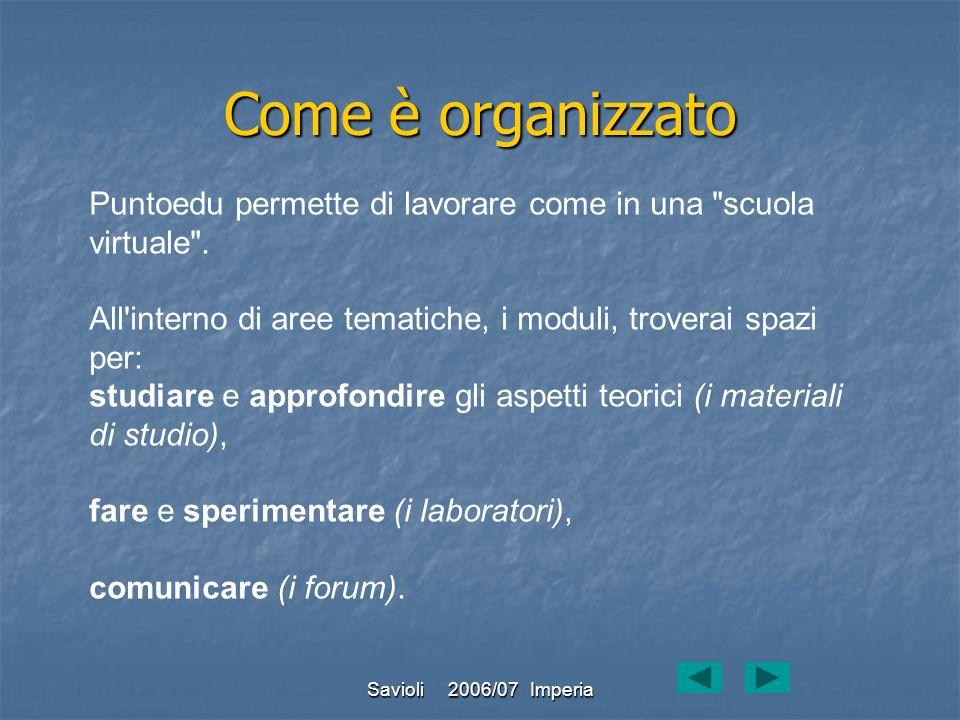 Come è organizzato Puntoedu permette di lavorare come in una scuola virtuale . All interno di aree tematiche, i moduli, troverai spazi per: