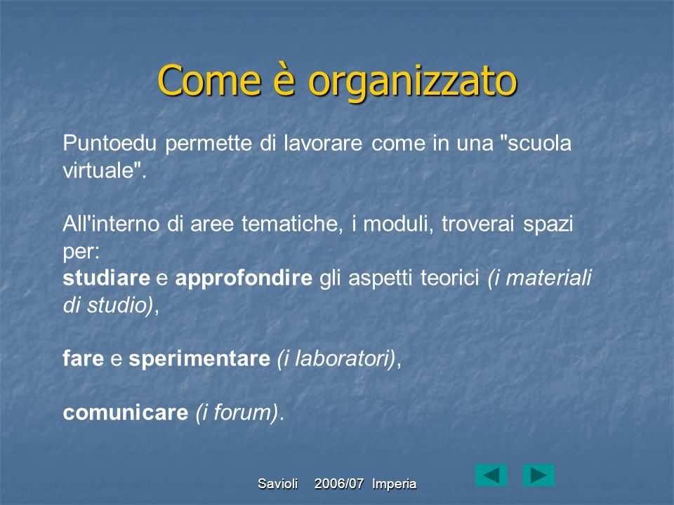 Come è organizzatoPuntoedu permette di lavorare come in una scuola virtuale . All interno di aree tematiche, i moduli, troverai spazi per: