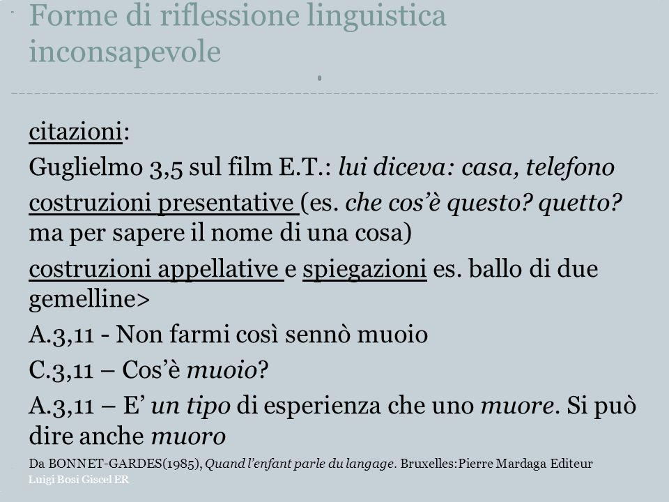 Forme di riflessione linguistica inconsapevole