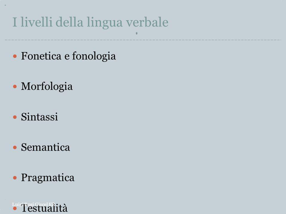 I livelli della lingua verbale