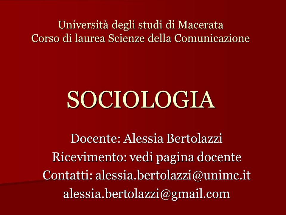 Docente: Alessia Bertolazzi Ricevimento: vedi pagina docente