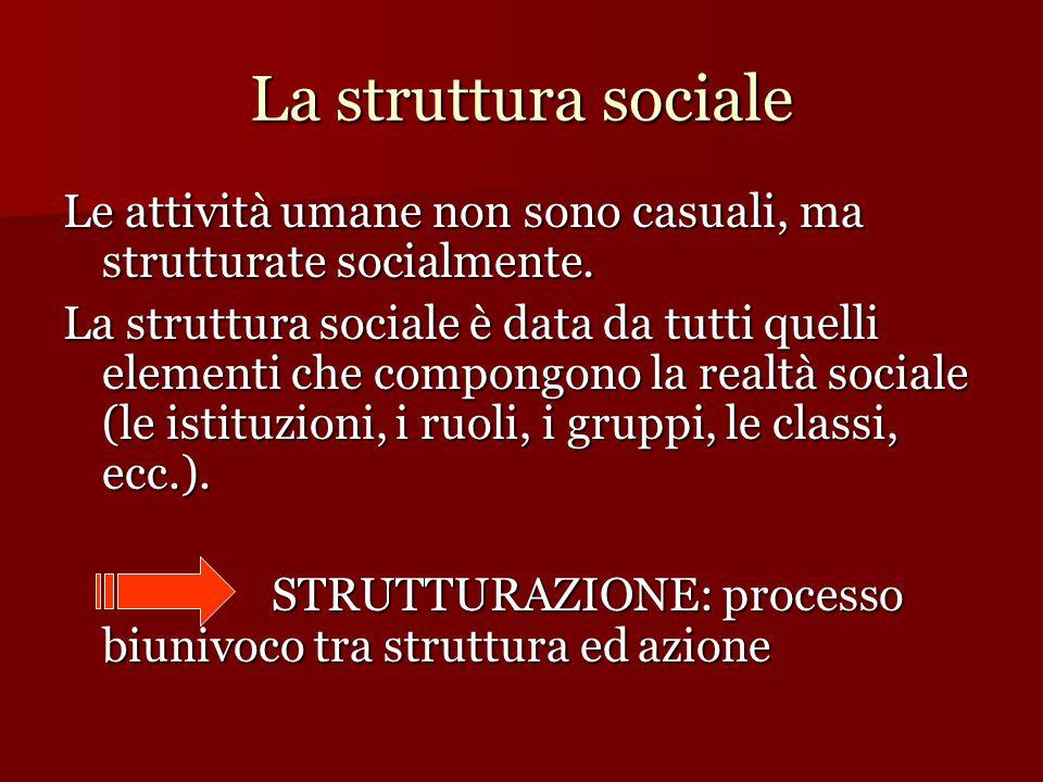 La struttura sociale Le attività umane non sono casuali, ma strutturate socialmente.