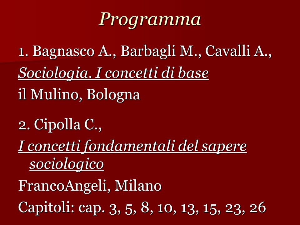 Programma 1. Bagnasco A., Barbagli M., Cavalli A.,