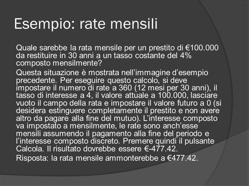 Esempio: rate mensili