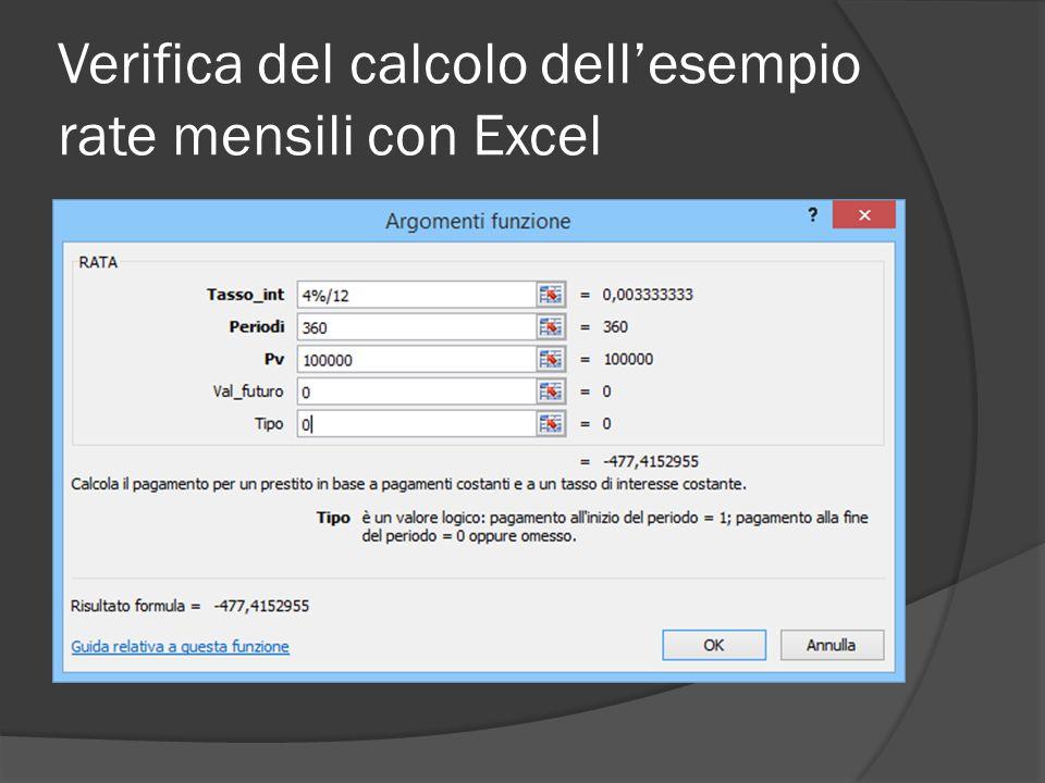 Verifica del calcolo dell'esempio rate mensili con Excel