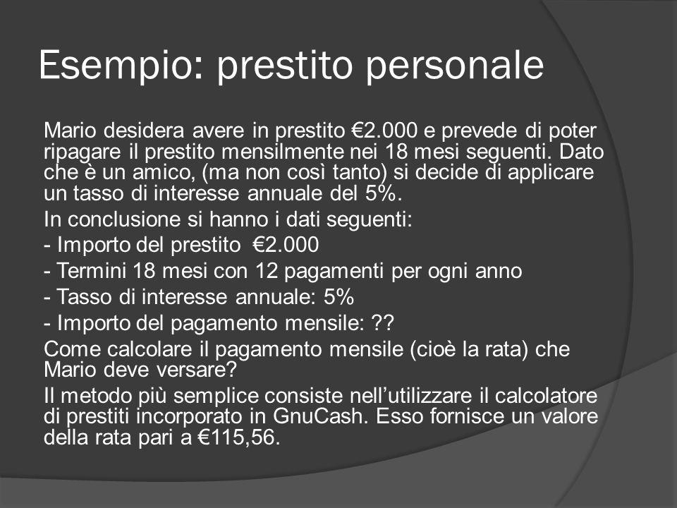 Esempio: prestito personale