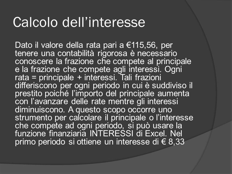 Calcolo dell'interesse
