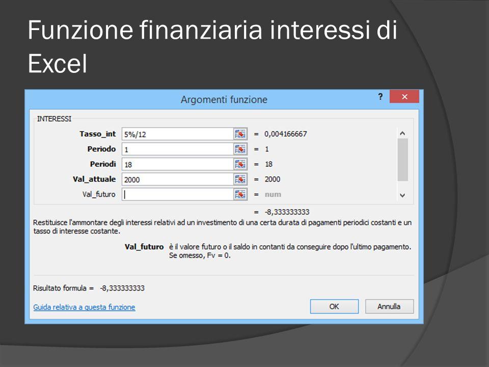 Funzione finanziaria interessi di Excel