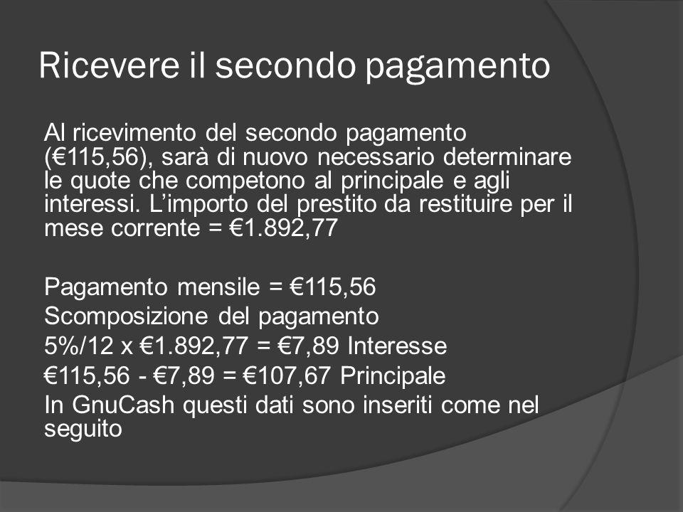 Ricevere il secondo pagamento