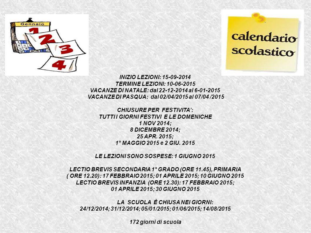 VACANZE DI NATALE: dal 22-12-2014 al 6-01-2015