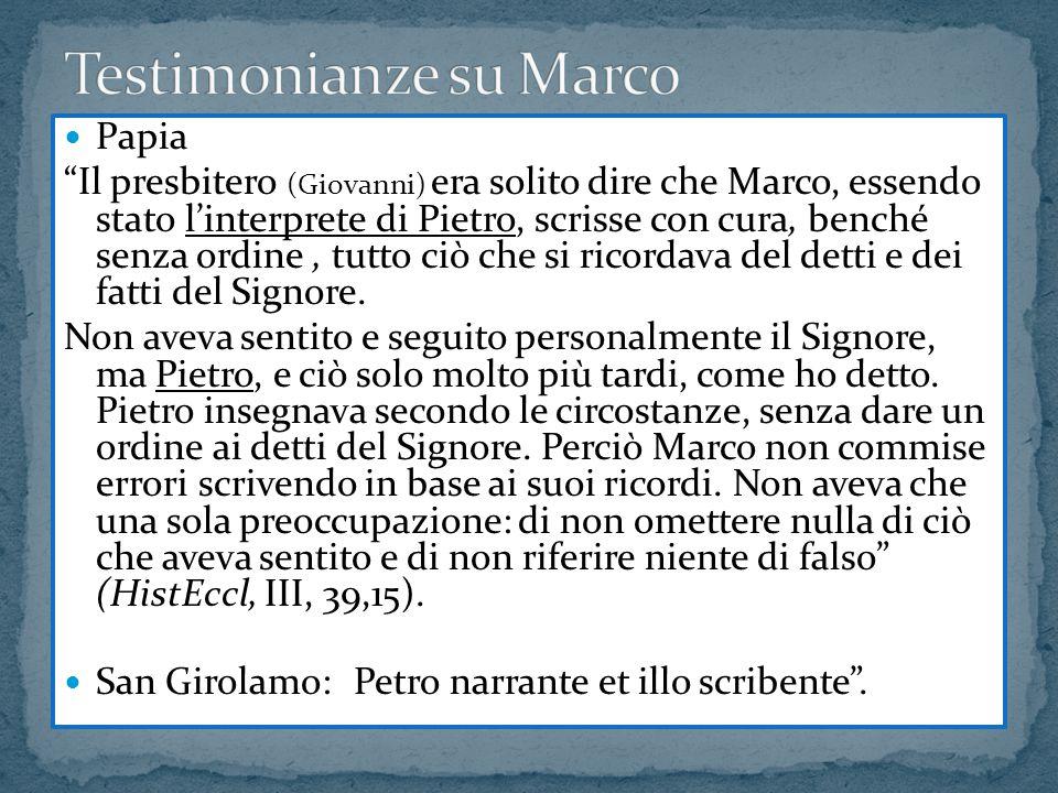 Testimonianze su Marco