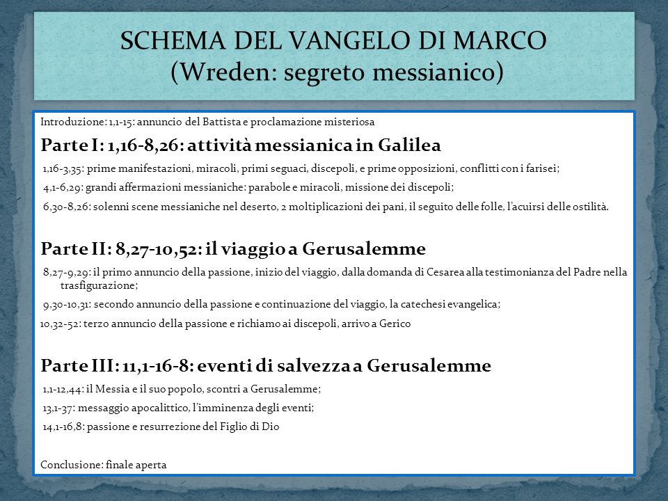 SCHEMA DEL VANGELO DI MARCO (Wreden: segreto messianico)