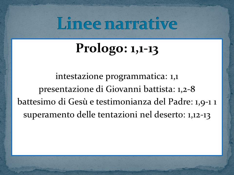 Linee narrative Prologo: 1,1-13 intestazione programmatica: 1,1