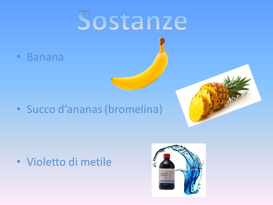 Sostanze Banana Succo d'ananas (bromelina) Violetto di metile