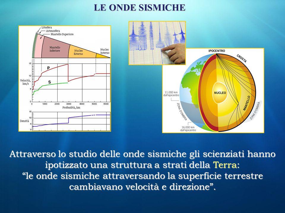 LE ONDE SISMICHE Attraverso lo studio delle onde sismiche gli scienziati hanno ipotizzato una struttura a strati della Terra: