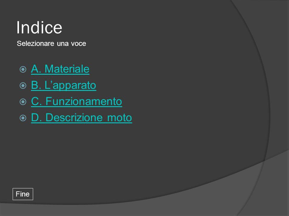 Indice A. Materiale B. L'apparato C. Funzionamento D. Descrizione moto