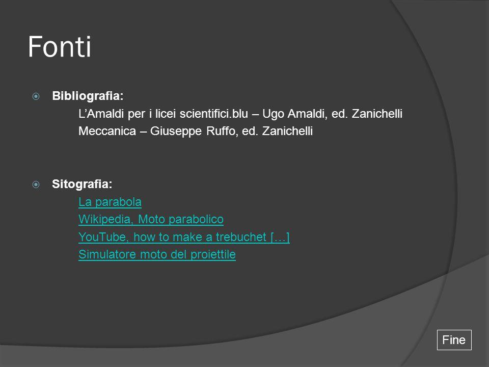 Fonti Bibliografia: L'Amaldi per i licei scientifici.blu – Ugo Amaldi, ed. Zanichelli. Meccanica – Giuseppe Ruffo, ed. Zanichelli.