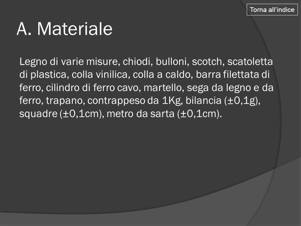 Torna all'indice A. Materiale.