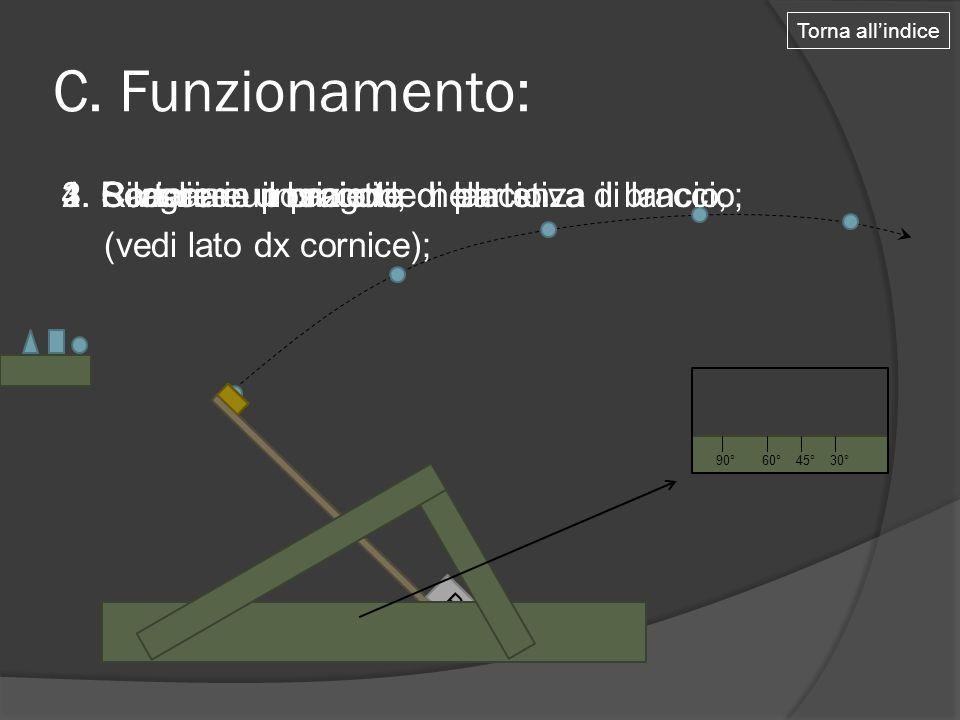Torna all'indice C. Funzionamento: 3. Scegliere un angolo di lancio (vedi lato dx cornice); 4. Rilasciare il braccio;