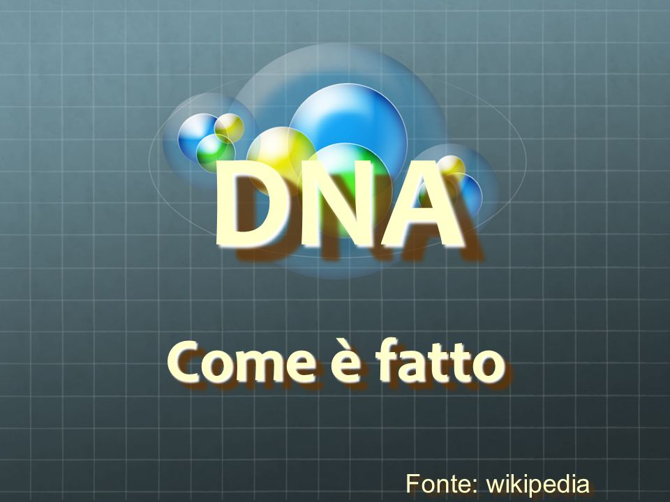 DNA Come è fatto Fonte: wikipedia