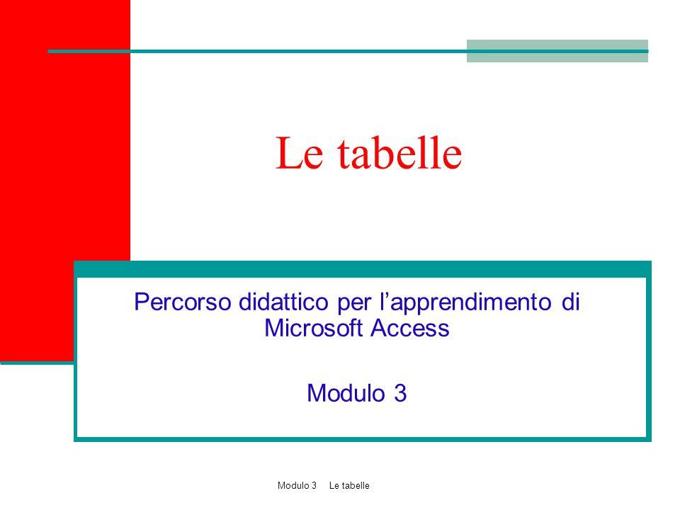 Percorso didattico per l'apprendimento di Microsoft Access Modulo 3