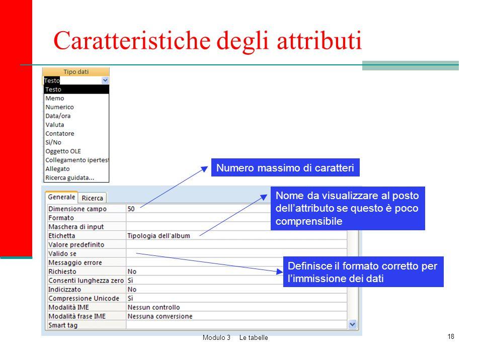 Caratteristiche degli attributi
